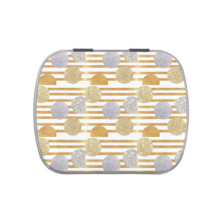 geomtry art,modern,trendy,gold,silver,big polka do jelly belly candy tins