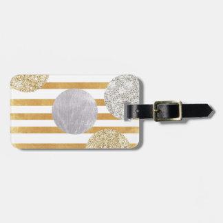 geomtry art,modern,trendy,gold,silver,big polka do luggage tag