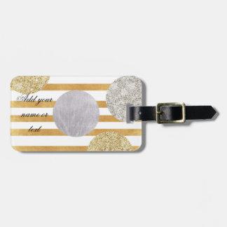 geomtry art,modern,trendy,gold,silver,big polka do tag for luggage
