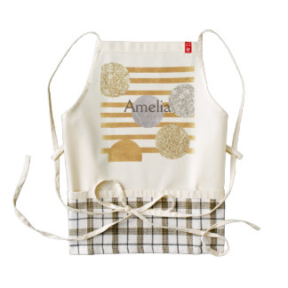 geomtry art,modern,trendy,gold,silver,big polka do zazzle HEART apron