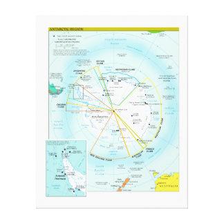 Geopolitical Regional Map of Antarctica Canvas Print
