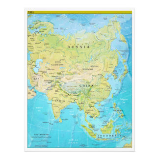 Geopolitical Regional Map of Asia Photo Print