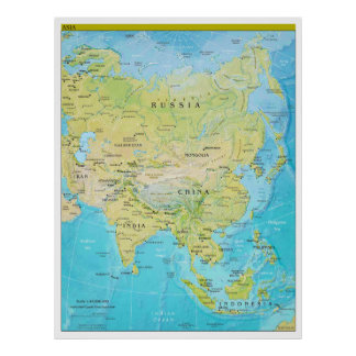 Geopolitical Regional Map of Asia Poster