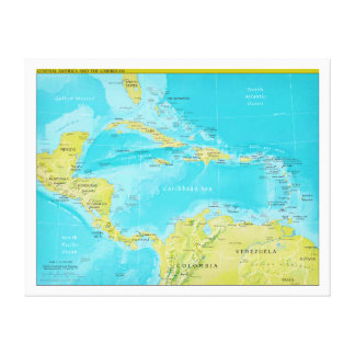 Geopolitical Regional Map of Central America Canvas Print