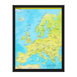 Geopolitical Regional Map of Europe Stretched Canvas Prints