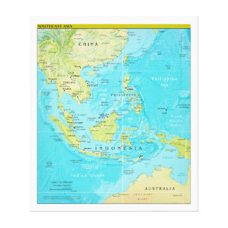 Geopolitical Regional Map of Southeast Asia Canvas Print