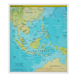 Geopolitical Regional Map of Southeast Asia Poster