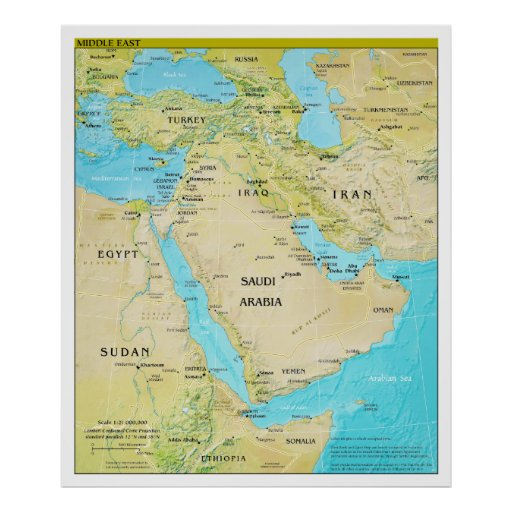 Geopolitical Regional Map of the Middle East Posters