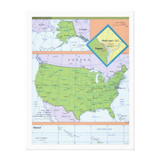 Geopolitical Regional Map of the United States Canvas Print