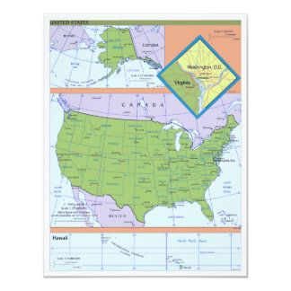 Geopolitical Regional Map of the United States Card