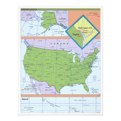 Geopolitical Regional Map of the United States Photo Print