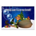 Geordie Christmas Card Elf Drinking Newcie Brown