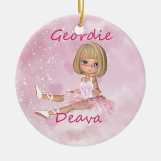 Geordie Deva Cute Little Keepsake Double-Sided Ceramic Round Christmas Ornament