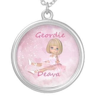 Geordie Deva Silver Necklace - Cute Ballet Dancer