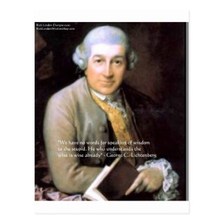 "Georg C Lichtenberg ""The Wise"" Quote Gifts & Cards Postcard"