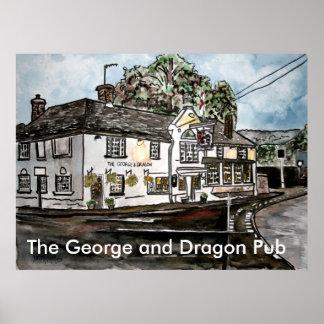 george and dragon pub restaurant england art, T... Poster
