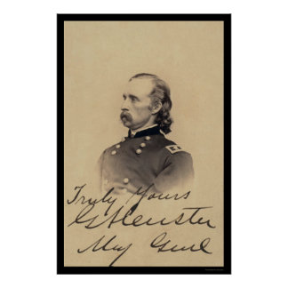 George Armstrong Custer Signed Card 1866 Poster