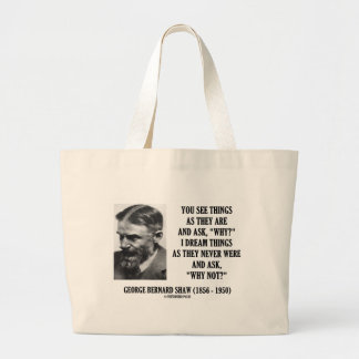 George B. Shaw Dream Things Never Were Why Not? Large Tote Bag