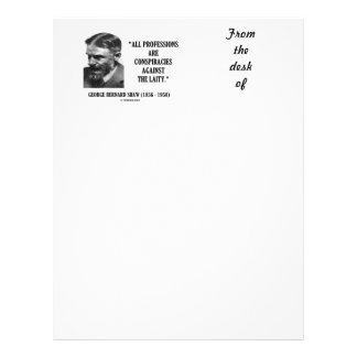 George B. Shaw Professions Conspiracies Laity Personalized Letterhead