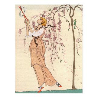 George Barbier Afternoon Play Dress Postcard