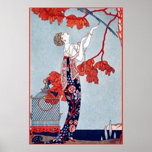 "George Barbier ""L'Oiseau Volage"" 1914 Poster"