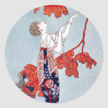 """George Barbier """"L'Oiseau Volage"""" 1914 Round Sticker"""