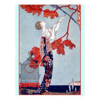 """George Barbier """"L'Oiseau Volage"""" 1914 Tarjeta Postal"""