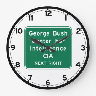 George Bush Center For Intelligence, Road Sign, US Large Clock