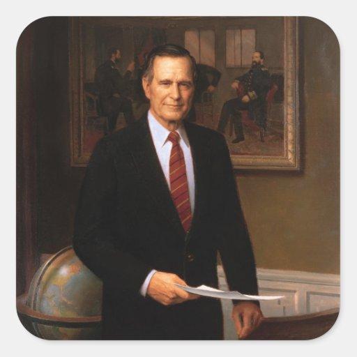 George Bush Pegatina Cuadrada