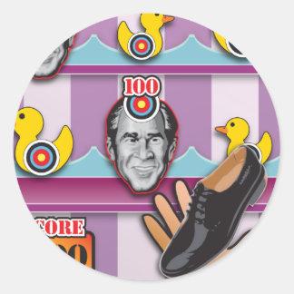 George Bush - Reporter Shoe Throw Attack! Classic Round Sticker