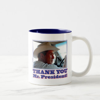 George Bush/Thank you! Two-Tone Coffee Mug