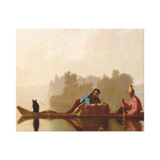 George Caleb Bingham - Fur Traders Descending Canvas Print