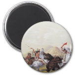 George Catlin - Attacking the Grizzly Bear 2 Inch Round Magnet