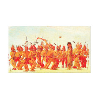 George Catlin - Dance to Berdache Native American Canvas Print