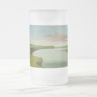 George Catlin - Distant View of the Mandan Village Frosted Glass Beer Mug