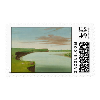 George Catlin - Distant View of the Mandan Village Postage Stamps