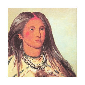 George Catlin - Mandan Painting Native American Canvas Print