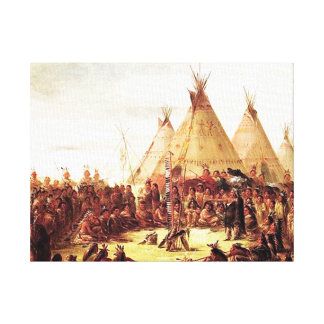 George Catlin - Sioux Native American War Painting Canvas Print