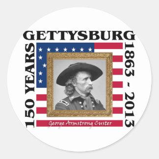 George Custer - 150o aniversario Gettysburg Etiqueta Redonda