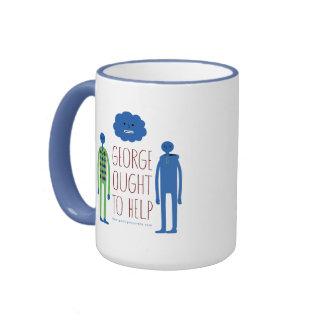 George debe ayudar a asaltar tazas de café