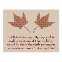 George Eliot Autumn Quote Postcard