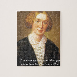 """George Eliot """"Never Too Late"""" Quote Jigsaw Puzzle"""