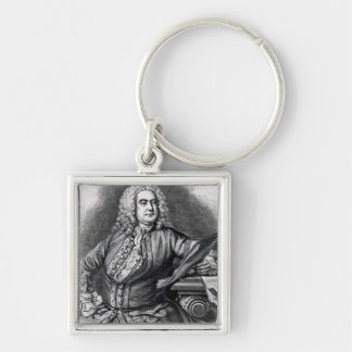 George Frederick Handel, 1749 Silver-Colored Square Keychain