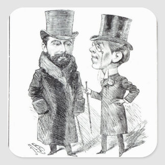 George Grossmith Jnr. y Richard D'Oyly Carte Calcomania Cuadradas