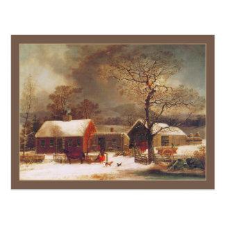 George Henry Durrie: Escena del invierno en New Ha Postal