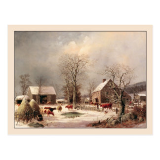 George Henry Durrie Farmyard Winter Postcard
