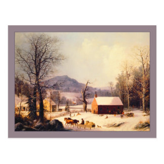 George Henry Durrie Red School House Winter Postcard
