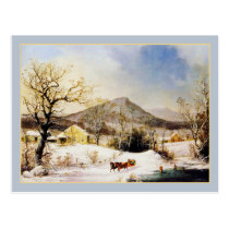 George Henry Durrie Rustic Country Christmas Farm Postcard