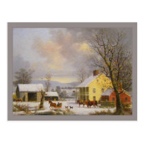 George Henry Durrie Rustic Winter in the Country Postcard