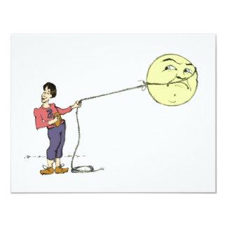"""George Lassos the Moon"" Card 4.25"" X 5.5"" Invitation Card"
